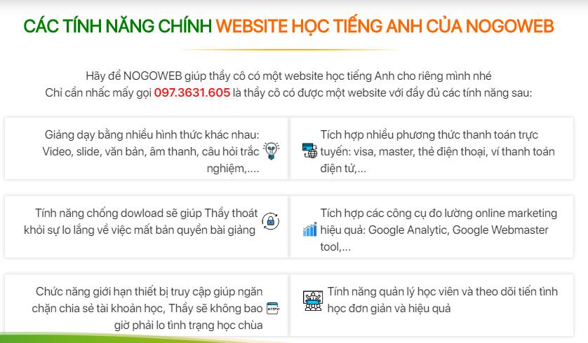 Thiêt kế website dạy tiếng Anh tại Hà Nội