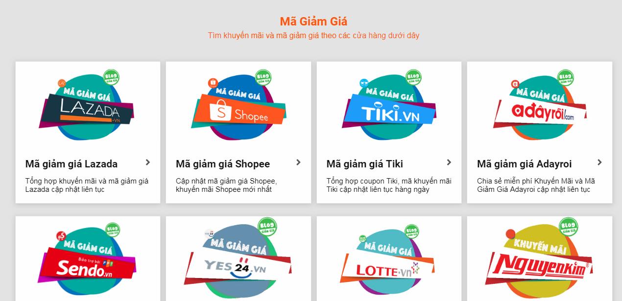 Thiết kế website tiếp thị liên kết Mã giảm giá